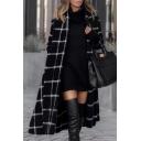 Vintage Womens Coat Grid Pattern Button down Loose Fit Longer Length Long Sleeve Lapel Collar Woolen Coat