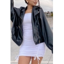 Basic Womens Jacket Plain Zipper Front Wide Lapel Long Bishop Sleeve Regular Fit Leather Jacket
