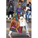 Womens Coat Fashionable Flower Pattern Single-Breasted Turn down Collar Longer Length Loose Fit Long Sleeve Woolen Coat