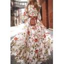 Vintage Womens Dress Floral Leaf Pattern Maxi Regular Fitted A-Line Round Neck Half Sleeve Swing Dress