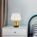1-Light Bedside Night Light Postmodern Gold Table Lighting with Round/Horn/Schoolhouse Clear/White Glass Shade
