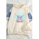 Basic Womens Hoodie Sword Monster Arm-Stripe Letter Fight Me Pattern Anime Demon Slayer Drawstring Long Contrast-Sleeve Relaxed Fitted Hoodie