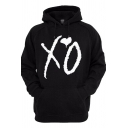Retro Womens Hoodie Heart Letter XO Pattern Drawstring Long Sleeve Regular Fit Hooded Sweatshirt with Kangaroo Pocket