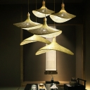 Wide-Brimmed Shade Tearoom Hanging Light Bamboo 1/3-Light Asia Ceiling Pendant in Beige, 12.5