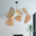 Handmade Foliage Bamboo Hanging Lamp Novelty Asian Style 1 Bulb 27.5