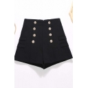 Womens Shorts Chic Solid Color Double Breasted Invisible Zipper Back High Rise Slim Fitted Wide Leg Relaxed Shorts