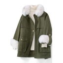 Vintage Womens Parka Double Flap Pockets Front Belted Thick Zipper down Loose Fit Long Sleeve Mid Length Fur-Trimmed Turn down Collar Parka