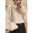 Leisure Women's Blouse Lace Pleated Front Solid Color Long Bishop Sleeves Round Neck Relaxed Fitted Blouse