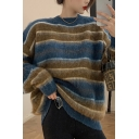 Unique Women's Sweater Stripe Pattern Color Block Plushed Round Neck Long-sleeved Loose Fitted Sweater