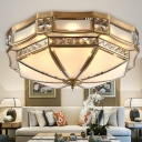 3/4/6-Light Yurt Shaped Flush Mount Lamp Traditional Brass Frosted Glass Ceiling Light with Crystal Accent, Small/Medium/Large