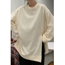 Casual Women's Sweatshirt Solid Color Side Slit Ribbed Trim Crew Neck Long-sleeved Relaxed Fit Sweatshirt