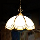 1 Bulb Scalloped Dome Pendant Lighting Traditional Brass Textured White Glass Hanging Ceiling Light