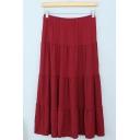 Women's Modal Fashion High Rise Solid Color Pleated Maxi Beach Skirt