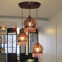 3-Light Hat Shaped Cluster Pendant Bohemia Copper Stained Glass Hanging Lamp with Round/Linear Canopy