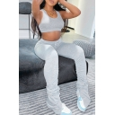 Womens Sport Co-ords Fashionable Solid Color Long Sleeve Cropped Scoop Neck Cropped Tee Slim Fitted Leggings Yoga Co-ords