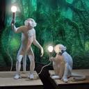 Artistic Jungle Monkey Mini Table Light Resin 1 Head Living Room Nightstand Lamp in Black/White/Gold