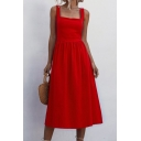 Trendy Women's A-Line Dress Solid Color Pleated Detail Square Neck Sleeveless Regular Fitted A-Line Dress