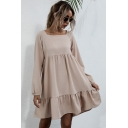 Stylish Women's A-Line Dress Solid Color Ruffles Tie Back Hollow out Square Neck Long Sleeves Relaxed Fit A-Line Dress