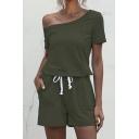 Creative Womens Romper Solid Color Drawstring-Waist Short Sleeve Sloping Shoulder Slim Fitted Romper