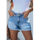 Summer Cool Street Style Light Blue Ripped Frayed Hem Denim Shorts for Women