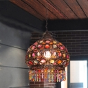 Copper 1 Head Pendant Lighting Bohemia Multicolored Glass Beaded Dome/Drum Shaped Ceiling Light