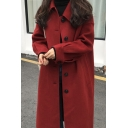 Elegant Women's Coat Plain Button Closure Cuff Banded Side Pockets Spread Collar Long Sleeves Regular Fitted Woolen Coat