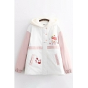 Stylish Women's Coat Cartoon Jam Jar Strawberry Printed Contrast Panel Banded Cuffs Button Detail Brushed Hooded Zip Fly Long Sleeves Casual Coat