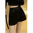 Cool Women's Shorts Solid Color Flap Pockets High Waist Regular Fitted Straight Shorts with Buckle Belt