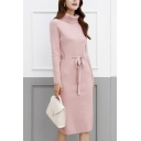Trendy Women's Sweater Dress Plain Turtleneck Long Sleeves Regular Fitted Midi Sweater Dress with Belt