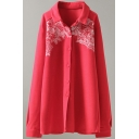 Womens Shirt Stylish Embroidered Design Single Breasted Tunic Long Sleeve Turn-down Collar Loose Fit Shirt