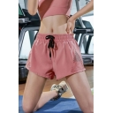 Retro Womens Shorts Plain Hollow out Detail Quick Dry Anti-Emptied Regular Fitted Drawstring Waist Sport Shorts
