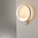 Circle/Square Bedside Wall Lighting Aluminum LED Minimalist Wall Sconce in Black/White