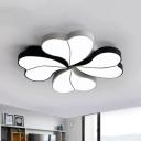 Heart Shaped Acrylic Flushmount Modern Black Integrated LED Ceiling Flush Light for Living Room, 20.5