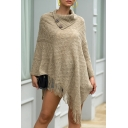 Fine-Knitted Cape Knit Top Solid Color Argyle Pattern Tassel Button Detail Turtleneck Long-sleeved Regular Fitted Pullover Shawl Sweater for Women