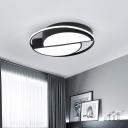 Black Geometric Shaped Flush Mount Light Contemporary Acrylic LED Ceiling Lamp for Bedroom