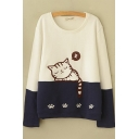 Womens Sweater Casual Contrast Sleeping Cat Paw Embroidered Long Sleeve Relaxed Fitted Round Neck Sweater