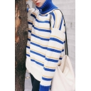 Color Block Striped Turtleneck Long Sleeve Pullover Sweater