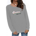 Casual Simple Letter GRAND CANYON Printed Boat Neck Long Sleeve Gray Pullover Sweatshirt