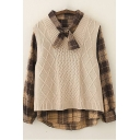 Womens Two-Pieces Chic Cable Knit Round Neck Sleeveless Regular Fitted Sweater Vest with Plaid Pattern Tie-Neck Shirt