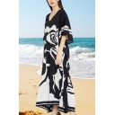 Leisure Women's T-Shirt Dress Floral Pattern Contrast Stripe V Neck Batwing Sleeves Maxi T-Shirt Dress