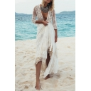 Novelty Womens Jacket Hollow out Embroidered Lace Tie Waist Open Front Long Sleeve Longer Length Slim Fitted Cover-up Beach Jacket