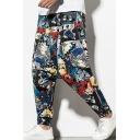 Guys Street Trendy Colorful Figure Printed Casual Drop-Crotch Hip Pop Harem Pants