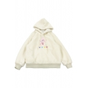 Womens Hoodie Stylish Rabbit Applique Heart Embroidery Thick Sherpa Drawstring Regular Fitted Long Sleeve Hoodie