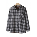 Womens Shirt Chic Plaid Pattern Chest Pocket Thickened Button up Spread Collar Loose Fit Long Sleeve Shirt
