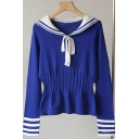 Womens Sweater Fashionable Contrast Arm-Stripe Bow Sailor Collar Waist-Controlled Long Sleeve Slim Fitted Sweater