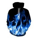 3D Blue Fire Printed Long Sleeve Unisex Hoodie