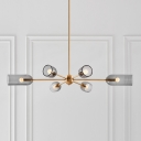 6 Heads Dining Room Ceiling Hang Light Postmodern Gold Radial Chandelier with Elongated Dome Smoke Glass Shade