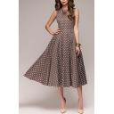 Womens Dress Chic Polka Dot Pattern Crew Neck Sleeveless A-Line Slim Fitted Midi Swing Dress