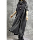 Womens Dress Fashionable Asymmetric Patchwork Split Hem Maxi Regular Fitted Cowl Collar Long Sleeve Swing Dress