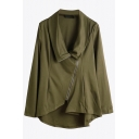 Basic Womens Jacket Solid Color Asymmetric Oblique-Zipper Long Sleeve Turn-down Collar Loose Fit Casual Jacket